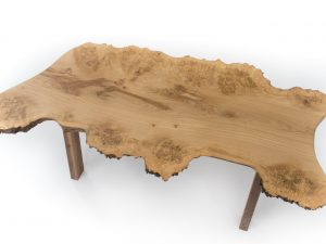Live edge burr oak coffee table with walnut legs