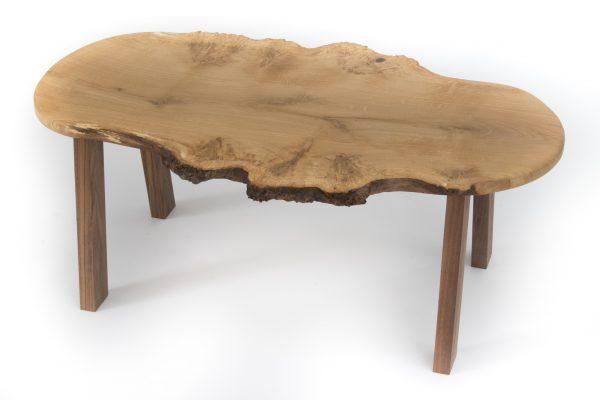 Live Edge Burr Oak Coffee Table American Black Walnut Legs