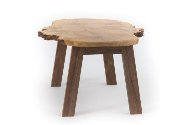 Live Edge Burr Oak Coffee Table American Black Walnut Legs Side
