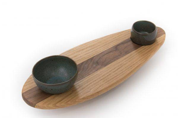 Skaters Oak Food Serving Platter with Bowls