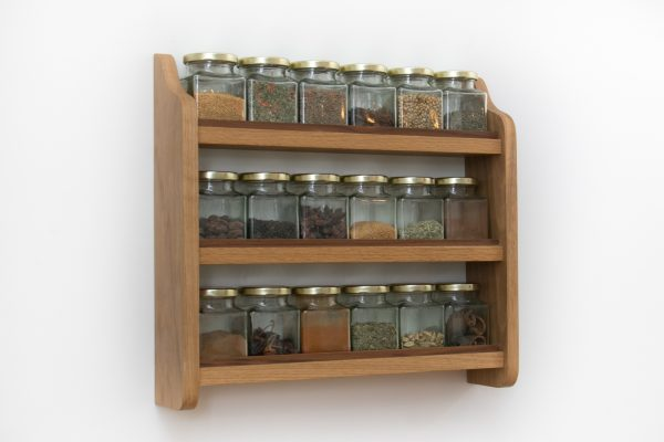 Solid Oak Spice Rack with Jars Side
