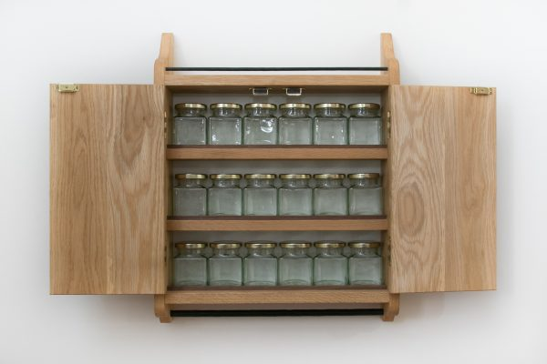 Wall Mounted Oak Spice Cupboard Rack